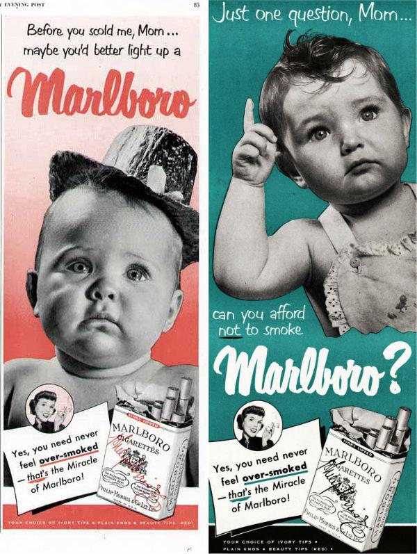 Bebés anunciando tabaco